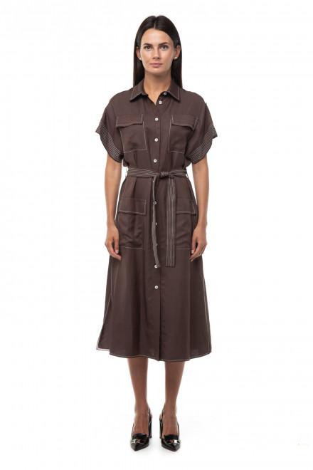 Платье женское коричневое миди с поясом Beatrice