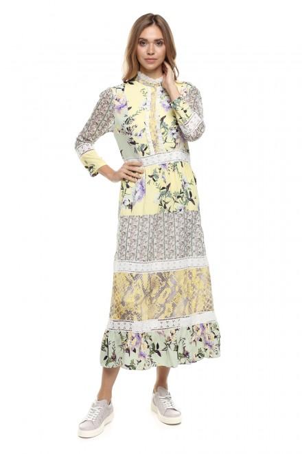 Макси-платье в стиле бохо с юбкой, оборками и вышивкой кружевом Rich & Royal