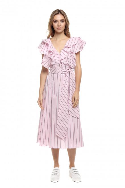 Платье женское длиной ниже колена, в полоску, с поясом Le Coeur