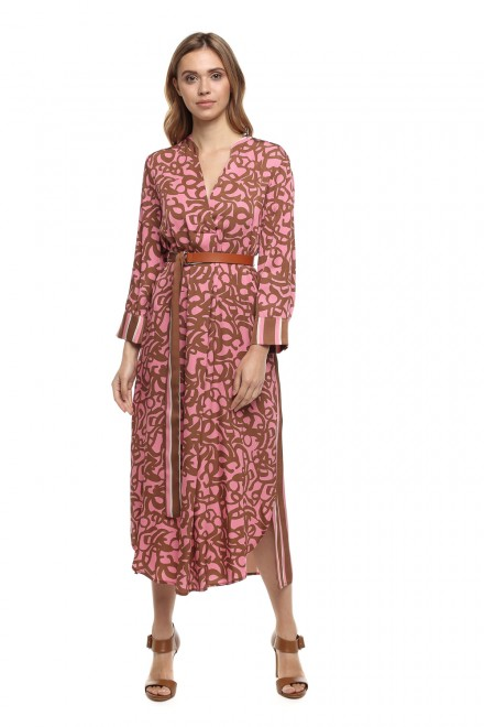 Платье женское с длинным рукавом свободного стиля в коричнево-розовом цвете Beatrice