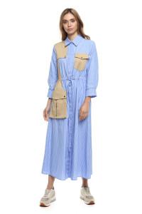 Платье женское голубого цвета в белую полоску Sfizio
