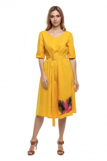 Платье женское с поясом в ярко-жёлтом цвете Sfizio