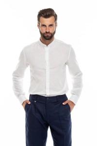 Рубашка мужская летняя из хлопка и льна, белая, с воротником-стойка Antony Morato