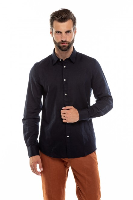 Рубашка мужская темная на лето из хлопка и льна Antony Morato