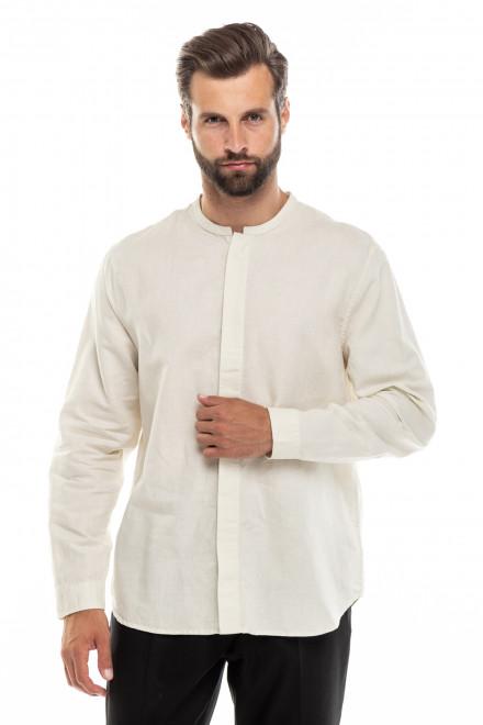 Рубашка мужская с воротником-стойка, белая, из натурального материала Antony Morato