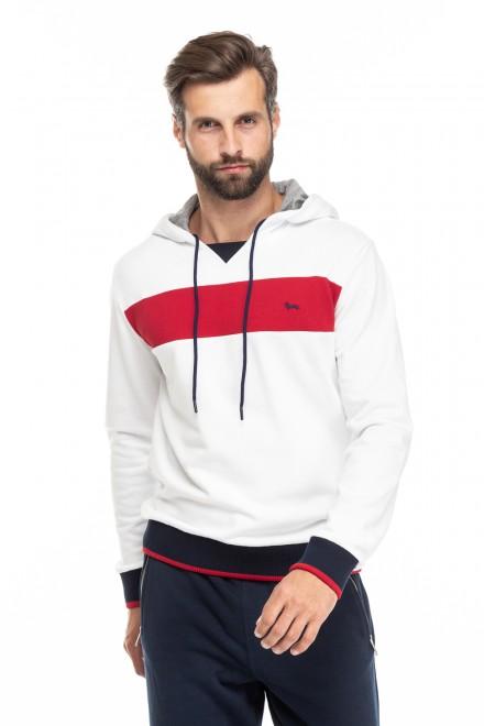 Пуловер мужской белого цвета в полоску с капюшоном Harmont & Blaine