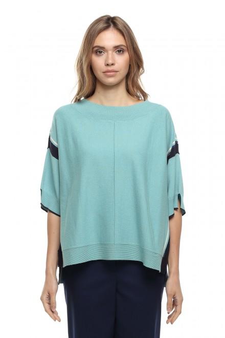 Пуловер женский бирюзовый с широкой горловиной Le Coeur