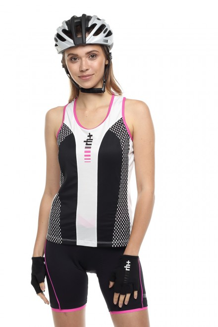 Топ женский спортивный черный с розовым Zero rh+
