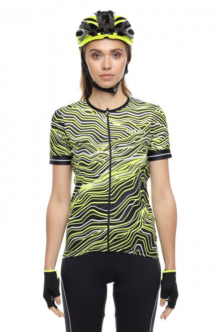 Футболка спортивная женская (велофутболка) на молнии черно-салатовая Zero rh+