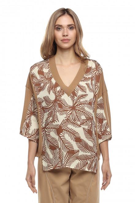 Женская блуза молочного цвета с бежевым принтом в свободном стиле оверсайз Beatrice