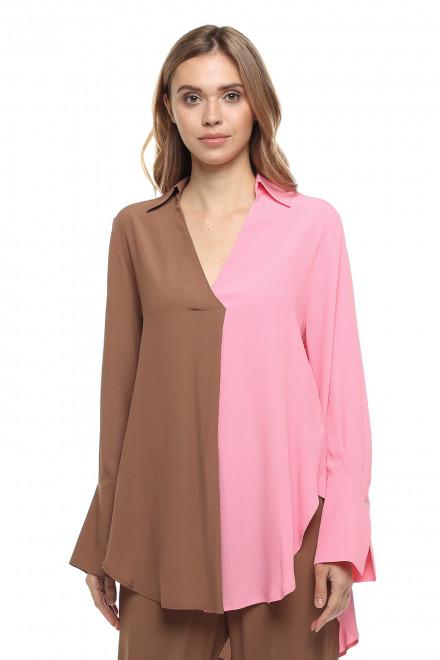 Блуза женская с длинным рукавом свободного стиля в коричнево-розовом цвете Beatrice
