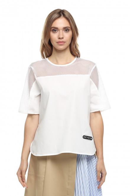 Блуза женская белого цвета с коротким рукавом Sfizio