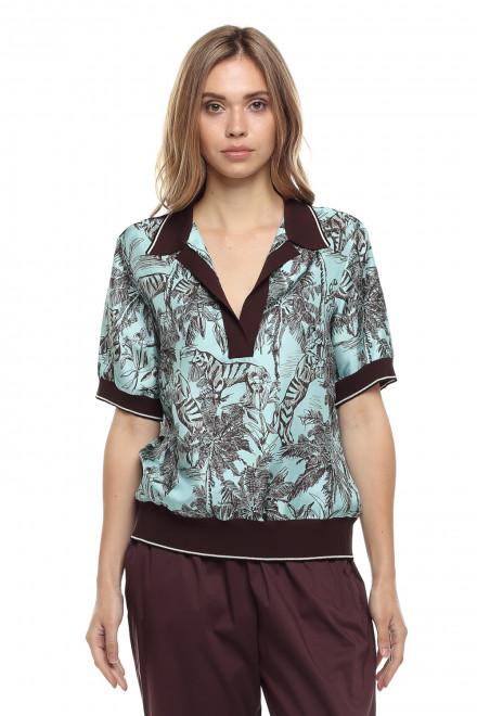 Женская блуза с короткими рукавами в экзотический голубой принт Beatrice