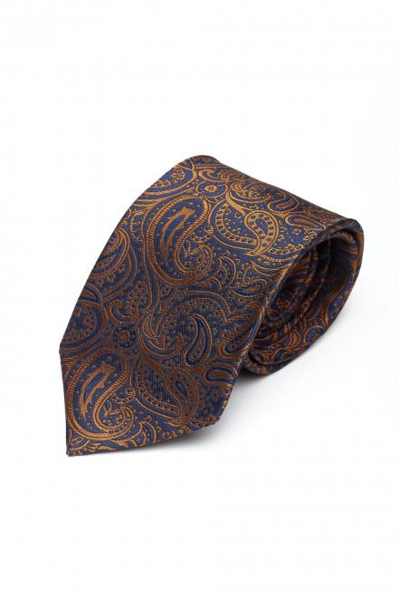 Галстук и платок мужские с узором пейсли синий с коричневым Dolcepunta