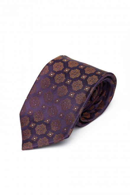 Галстук и платок Dolcepunta фиолетовый с коричневым шелковый