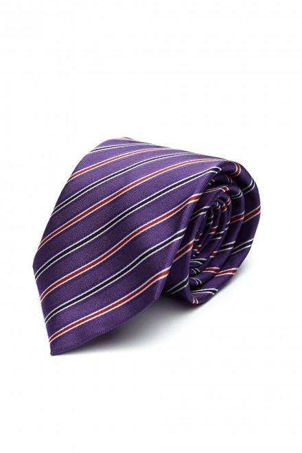 Галстук мужской фиолетовый в разноцветную полоску van Laack