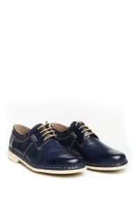 Туфли мужские синие на шнурках с контрастной подошвой Galizio Torresi