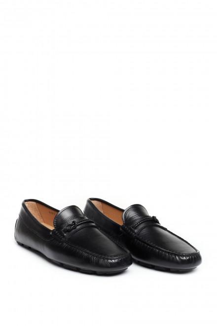 Туфли мужские черные (пенни лоферы) кожаные Perrone