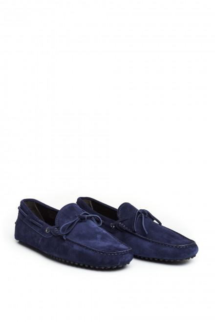 Мокасины замшевые синие Perrone