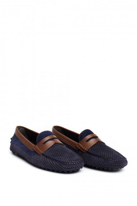 Туфли мужские (мокасины) мягкие кожаные синие с перфорацией Perrone