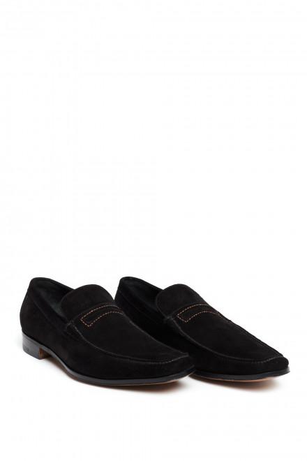 Туфли мужские лоферы с пряжкой черные Gerardo Fossati