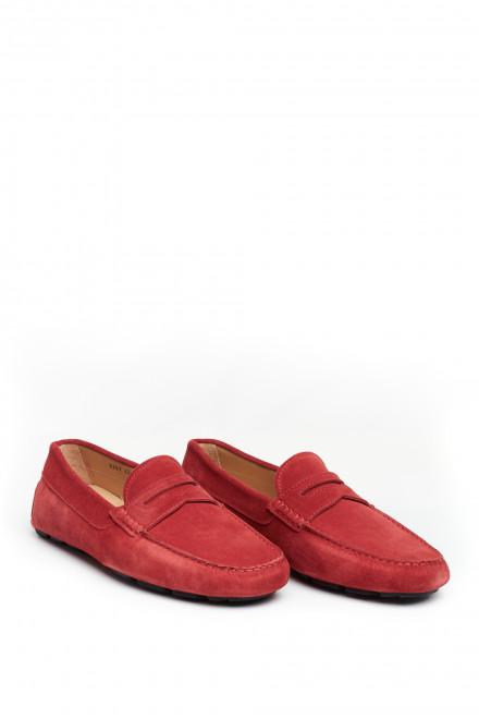 Туфли мужские кожаные мягкие (лоферы с пряжкой) красные Perrone