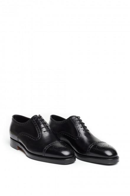 Туфли мужские черного цвета с перфорацией на шнуровке Gerardo Fossati