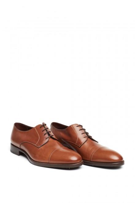 Туфли мужские Fratelli Rossetti коричневые дерби с отрезным носком