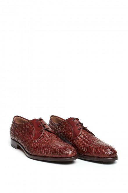 Туфли мужские Fratelli Rossetti коричневые дерби из плетенной кожи