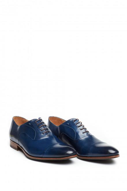 Туфли мужские оксфорды синие из натуральной кожи с отрезным носком Paradigma