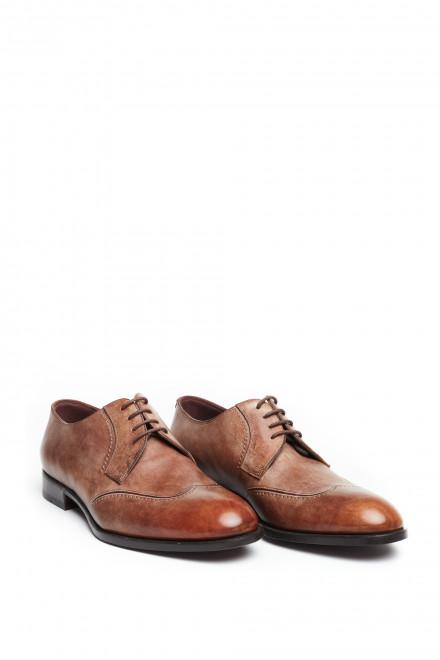 Туфли мужские Fratelli Rossetti коричневые дерби с носком крыльями