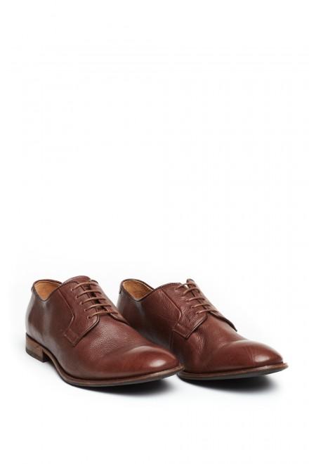 Туфли мужские коричневые дерби из натуральной кожи на шнуровке Paradigma