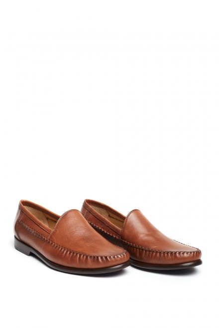 Туфли мужские коричневые с овальным носком кожаные Galizio Torresi