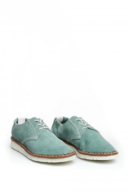 Туфли мужские дерби мятного цвета кожаные с символикой Watson&Parker