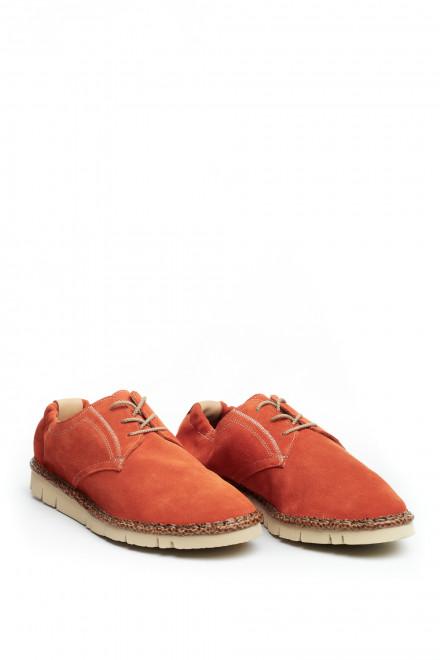 Туфли дерби мужские оранжевые на шнуровке мягкие Watson&Parker