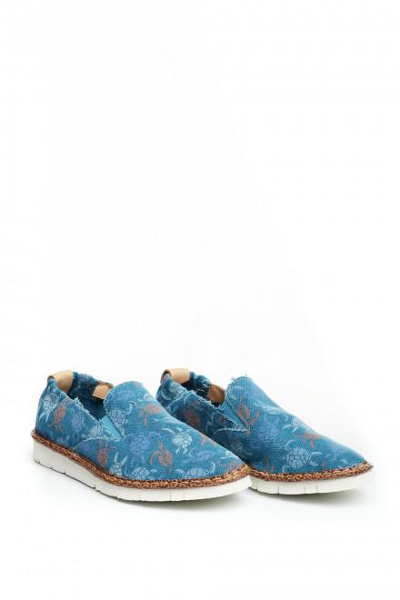 Туфли мужские текстильные синие в цветочный принт Watson&Parker