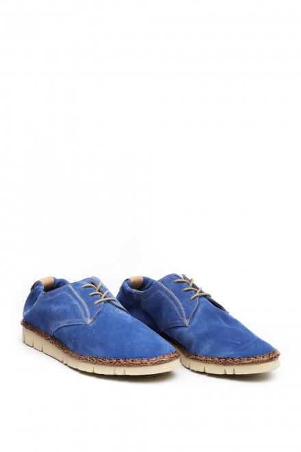 Туфли мужские синие на шнуровке с символикой Watson&Parker