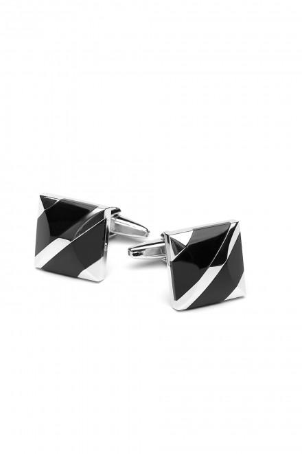 Запонки мужские черные с серебристым AEPCL Elizabeth Parker