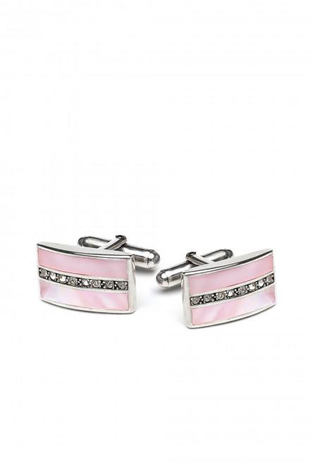 Запонки мужские серебряные AEPCL с розовым оттенком Elizabeth Parker
