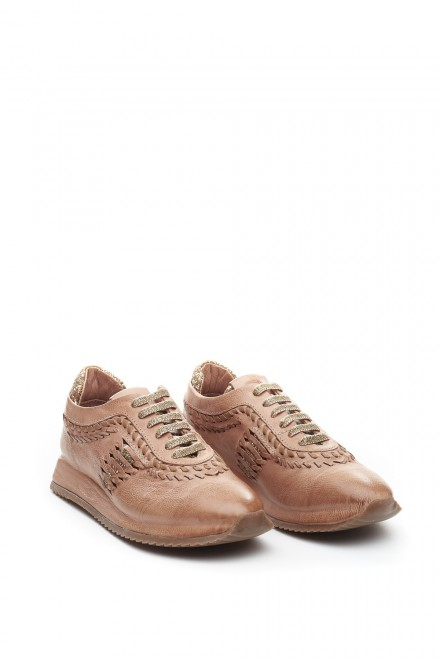 Кроссовки женские кожаные коричневые на шнуровке Area Forte