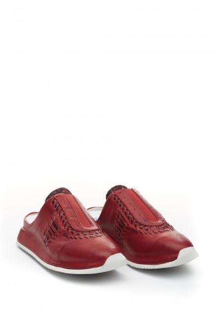 Кроссовки сабо красные из натуральной кожи Area Forte