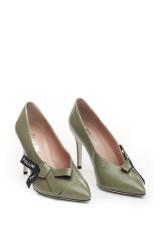 Туфли женские оливковые кожаные с бантом Pollini