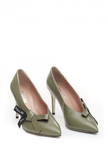 Туфли женские зеленые кожаные с бантом Pollini