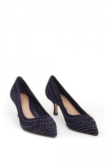 Туфли женские фиолетовые кожаные на каблуке The Seller