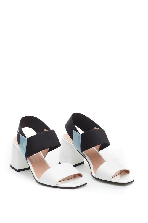 Босоножки женские кожаные на широком каблуке Pollini
