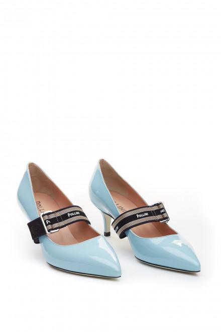 Туфли женские на среднем каблуке кожаные с бантом Pollini
