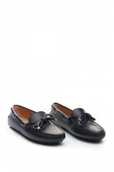 Туфли женские черные (мокасины) кожаные Perrone