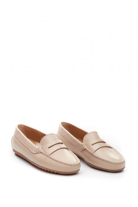 Туфли женские бежевые (пенни лоферы) Perrone