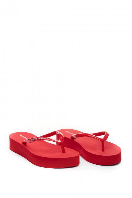 Шлепанцы женские красные Emporio Armani