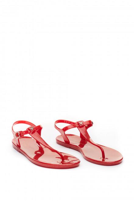 Сандалии женские красные с блестками Emporio Armani